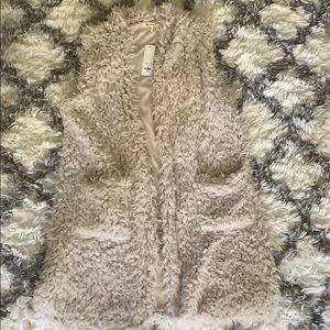 Faux fur long vest cardigan
